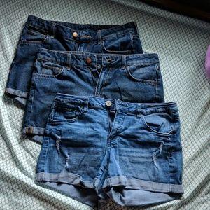 H&M Jean Shorts (2) & Refuge Jean Short (1)